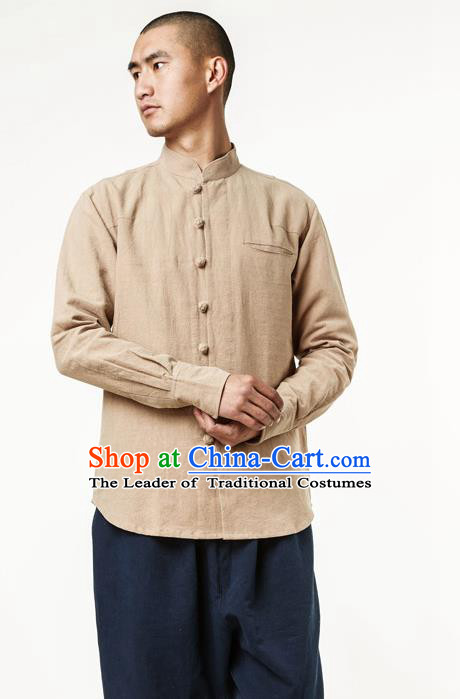 Asian China National Costume Stand Collar Khaki Linen Shirts, Traditional Chinese Tang Suit Plated Buttons Upper Outer Garment Clothing for Men
