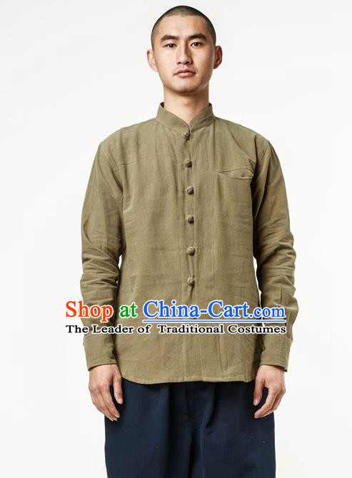 Asian China National Costume Stand Collar Green Linen Shirts, Traditional Chinese Tang Suit Plated Buttons Upper Outer Garment Clothing for Men