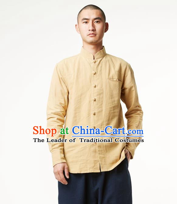 Asian China National Costume Stand Collar Yellow Linen Shirts, Traditional Chinese Tang Suit Plated Buttons Upper Outer Garment Clothing for Men