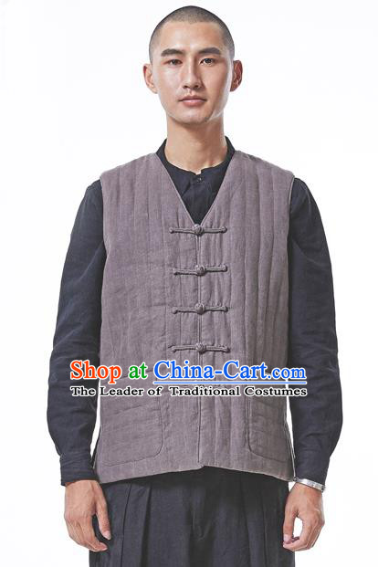 Asian China National Costume Grey Cotton-padded Linen Vest, Traditional Chinese Tang Suit Plated Buttons Waistcoat Clothing for Men