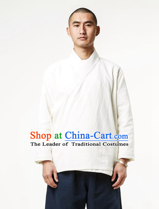 Asian China National Costume Slant Opening White Linen Shirts, Traditional Chinese Tang Suit Plated Buttons Upper Outer Garment Clothing for Men