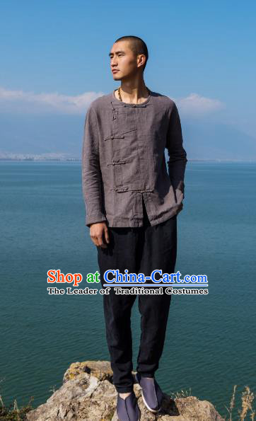 Asian China National Costume Slant Opening Grey Linen Shirts, Traditional Chinese Tang Suit Brass Buttons Upper Outer Garment Clothing for Men