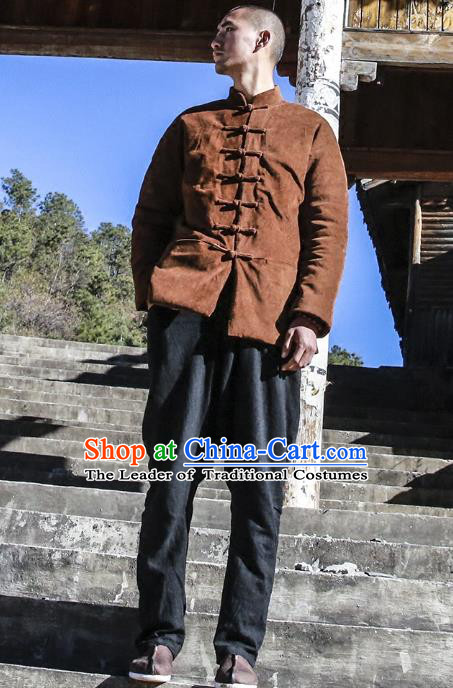 Asian China National Costume Dark Chocolate Corduroy Cotton-padded Jacket, Traditional Chinese Tang Suit Plated Buttons Coat Clothing for Men