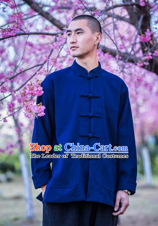 Asian China National Costume Stand Collar Blue Linen Shirts, Traditional Chinese Tang Suit Plated Buttons Upper Outer Garment Clothing for Men