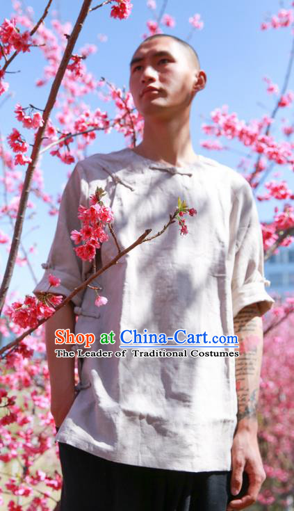 Asian China National Costume Slant Opening Linen Shirts, Traditional Chinese Tang Suit Plated Buttons Upper Outer Garment Clothing for Men