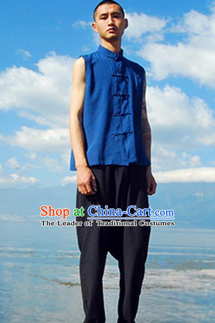 Asian China National Costume Blue Linen Vests, Traditional Chinese Tang Suit Plated Buttons Upper Outer Garment Waistcoat Clothing for Men