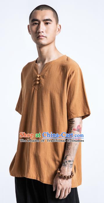 Asian China National Costume Brown Linen T-Shirts, Traditional Chinese Tang Suit Plated Buttons Upper Outer Garment Clothing for Men