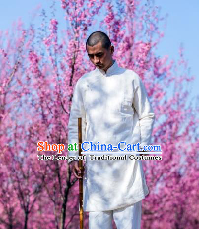 Asian China National Costume White Linen Slant Opening Robe, Traditional Chinese Tang Suit Plated Buttons Coat Clothing for Men