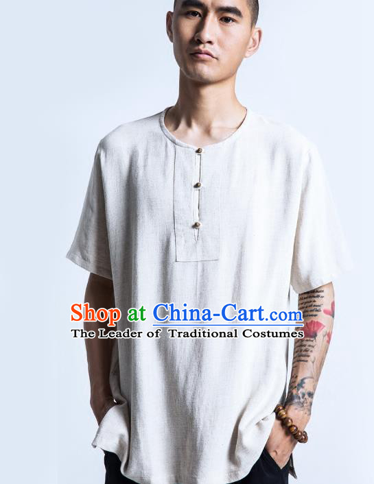 Asian China National Costume White Linen Shirts, Traditional Chinese Tang Suit Plated Buttons Upper Outer Garment Clothing for Men