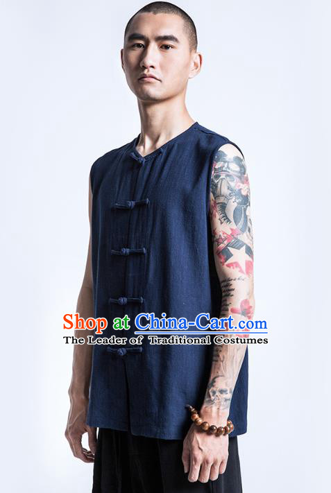 Asian China National Costume Navy Linen Vest, Traditional Chinese Tang Suit Plated Buttons Waistcoat Clothing for Men