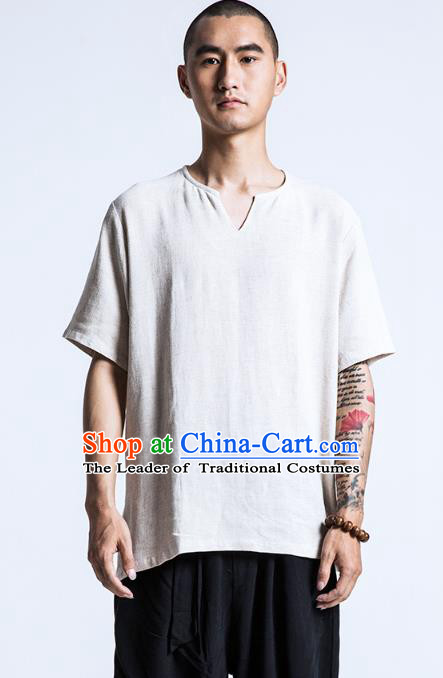 Asian China National Costume White Linen T-Shirts, Traditional Chinese Tang Suit Upper Outer Garment Clothing for Men