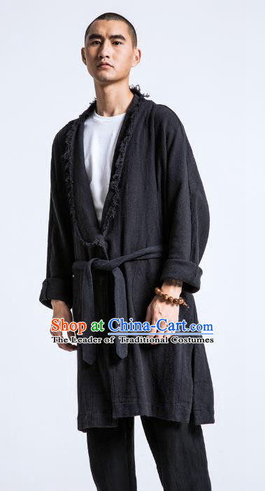 Asian China National Black Linen Costume Martial Arts Kung Fu Dust Coat, Traditional Chinese Tang Suit Upper Outer Garment Coat Clothing for Men