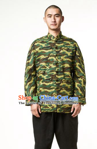 Asian China National Costume Martial Arts Kung Fu Camouflage Coat, Traditional Chinese Tang Suit Upper Outer Garment Jacket Clothing for Men