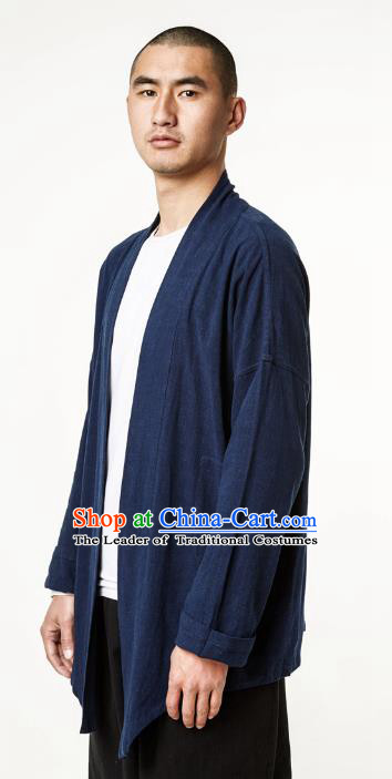 Asian China National Costume Navy Linen Cardigan, Traditional Chinese Tang Suit Coat Clothing for Men