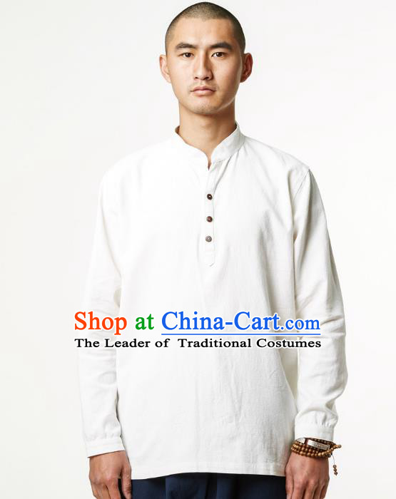 Asian China National Costume White Linen Shirts, Traditional Chinese Tang Suit Upper Outer Garment Clothing for Men