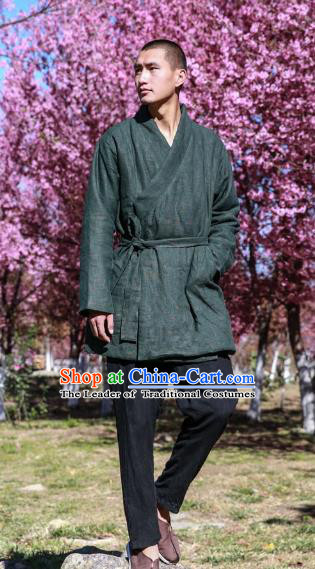 Asian China National Costume Green Linen Cotton-padded Robe, Traditional Chinese Tang Suit Slant Opening Coat Clothing for Men