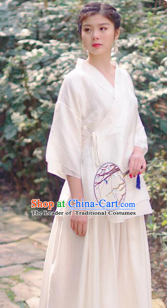 Asian China National Costume White Linen Hanfu Blouse, Traditional Chinese Tang Suit Upper Outer Garment Clothing for Women