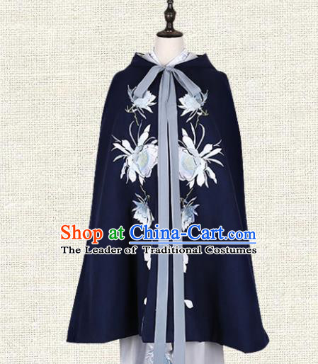 Asian China Ming Dynasty Imperial Princess Clothing Embroidered Cape Complete Set, Traditional Ancient Chinese Palace Lady Hanfu Clothing for Women