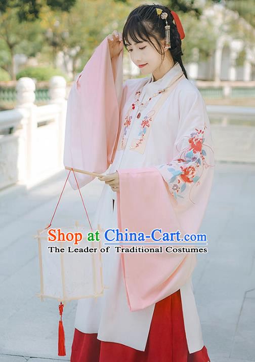Asian China Ming Dynasty Princess Embroidered Peony White Cloak, Traditional Ancient Chinese Palace Lady Elegant Hanfu Dress Clothing for Women