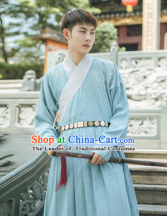 Asian China Ming Dynasty Swordsman Embroidered Costume, Traditional Ancient Chinese Elegant Hanfu Blue Robe Clothing for Men