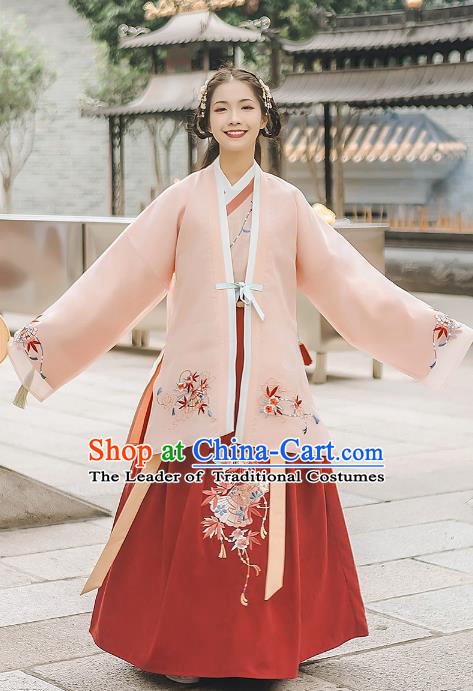 Asian China Ming Dynasty Palace Lady Embroidered Costume, Traditional Ancient Chinese Princess Elegant Hanfu Pink Cardigan for Women