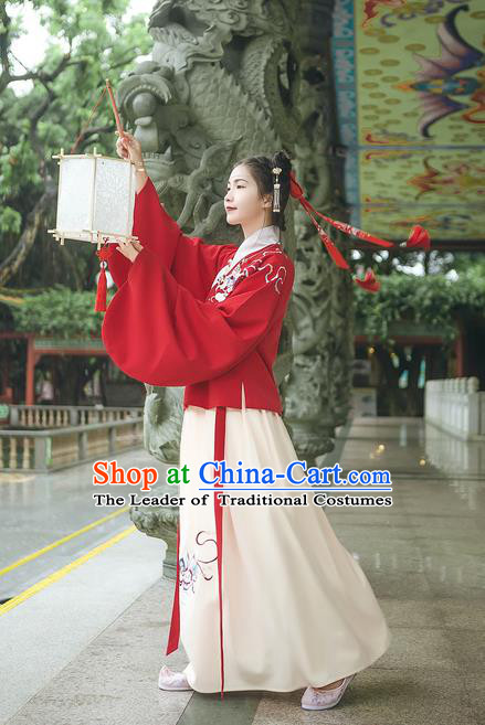 Asian China Ming Dynasty Palace Lady Embroidered Costume, Traditional Ancient Chinese Princess Elegant Hanfu Red Blouse and Skirt for Women