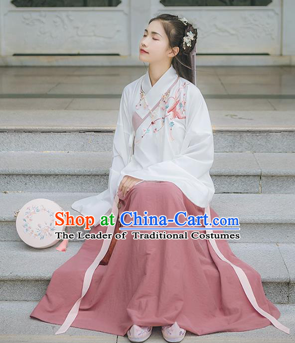 Asian China Ming Dynasty Princess Costume Embroidery White Blouse and Pink Skirt, Traditional Ancient Chinese Princess Elegant Hanfu Clothing for Women