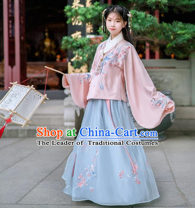 Asian China Ming Dynasty Palace Lady Wedding Costume Embroidery Pink Blouse and Blue Skirt, Traditional Ancient Chinese Princess Elegant Hanfu Clothing for Women