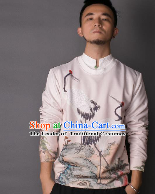 Asian China National Costume Printing Crane Sweater, Traditional Chinese Tang Suit Hoodie Clothing for Men