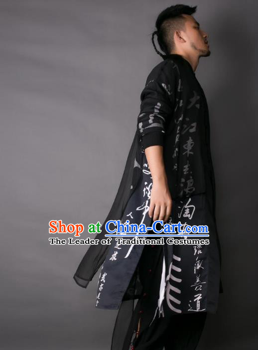 Asian China National Costume Printing Calligraphy Dust Coat, Traditional Chinese Tang Suit Cardigan Clothing for Men