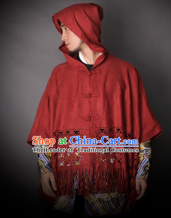 Asian China National Costume Red Cloak, Traditional Chinese Tang Suit Plated Buttons Shirts Clothing for Men