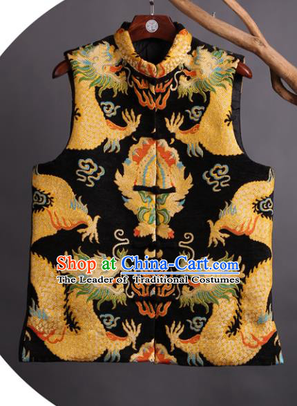 Asian China National Costume Embroidered Vest, Traditional Chinese Tang Suit Plated Buttons Embroidery Dragons Waistcoat Clothing for Men