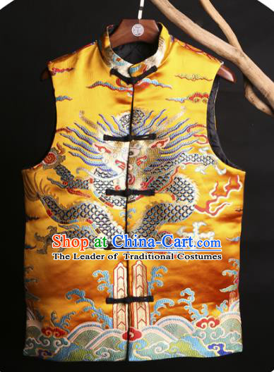 Asian China National Costume Embroidered Yellow Vest, Traditional Chinese Tang Suit Plated Buttons Embroidery Dragons Waistcoat Clothing for Men