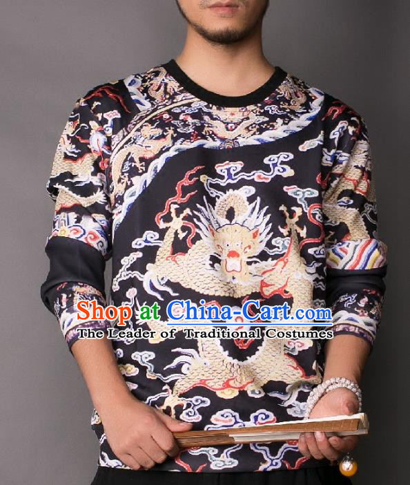 Asian China National Costume Printing Black Sweater, Traditional Chinese Tang Suit Hoodie Clothing for Men