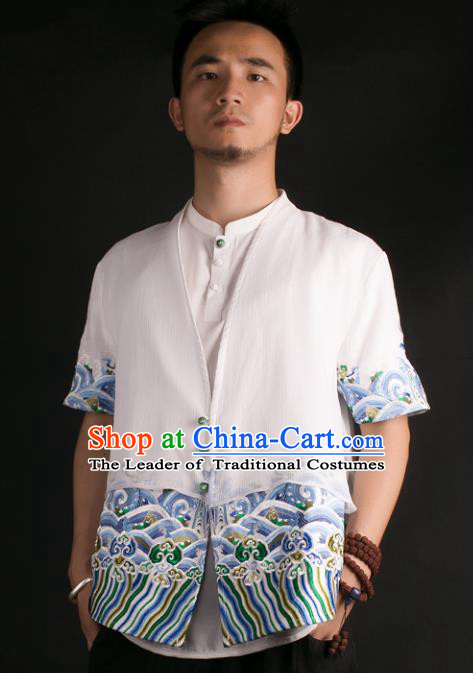 Asian China National Costume Embroidered White Shirt, Traditional Chinese Tang Suit Underwear Clothing for Men