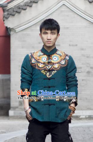 Asian China National Costume Embroidered Jacket, Traditional Chinese Tang Suit Plated Buttons Coat Clothing for Men