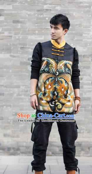 Asian China National Costume Embroidered Vest, Traditional Chinese Tang Suit Plated Buttons Waistcoat Clothing for Men