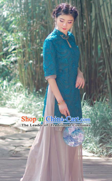 Asian China National Costume Peacock Blue Hanfu Embroidered Qipao Dress, Traditional Chinese Tang Suit Cheongsam Clothing for Women