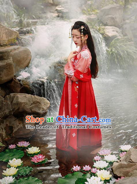 Asian China Tang Dynasty Princess Wedding Costume, Traditional Ancient Chinese Palace Lady Embroidered Elegant Hanfu Clothing for Women
