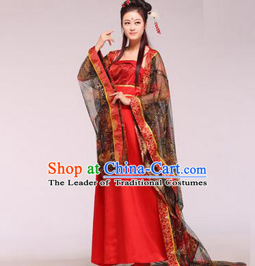Asian China Ancient Tang Dynasty Imperial Consort Fairy Costume, Traditional Chinese Empress Embroidered Red Tailing Dress Clothing for Women