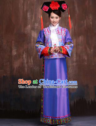 Traditional Ancient Chinese Imperial Consort Costume, Chinese Qing Dynasty Manchu Lady Purple Dress Embroidered Clothing for Women