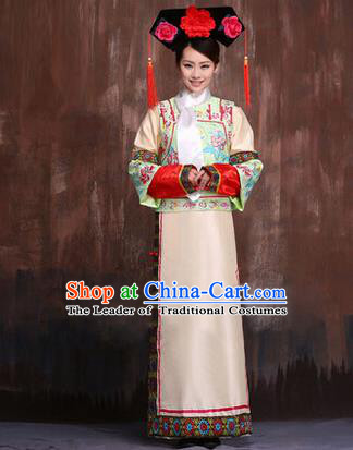 Traditional Ancient Chinese Imperial Consort Costume, Chinese Qing Dynasty Manchu Lady Dress Embroidered Clothing for Women