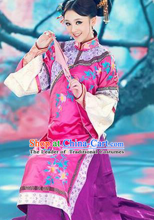 Traditional Ancient Chinese Imperial Consort Costume, Chinese Qing Dynasty Manchu Lady Rosy Dress Embroidered Clothing for Women