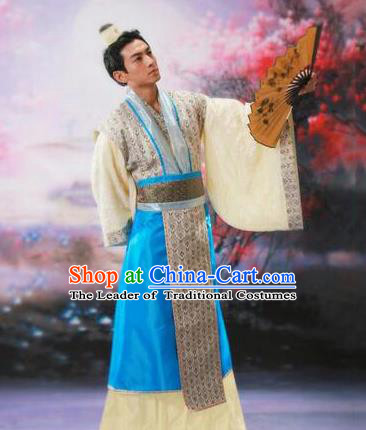 Traditional Ancient Chinese Prince Hanfu Costume, Asian Chinese Han Dynasty Nobility Childe Clothing for Men