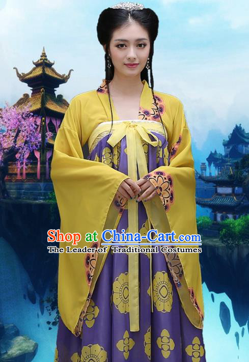 Traditional Ancient Chinese Imperial Consort Costume, Chinese Tang Dynasty Palace Lady Embroidered Dress Clothing for Women