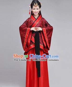 Traditional Ancient Chinese Imperial Consort Hanfu Costume, Chinese Han Dynasty Palace Lady Embroidered Dress Clothing for Women