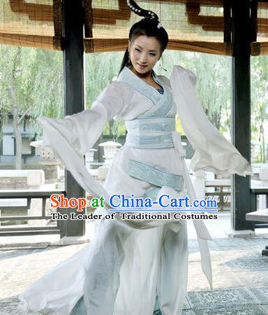 Asian China Ancient Han Dynasty Palace Lady Dance Costume, Traditional Chinese Hanfu Imperial Concubine Water Sleeve Dress Clothing for Women