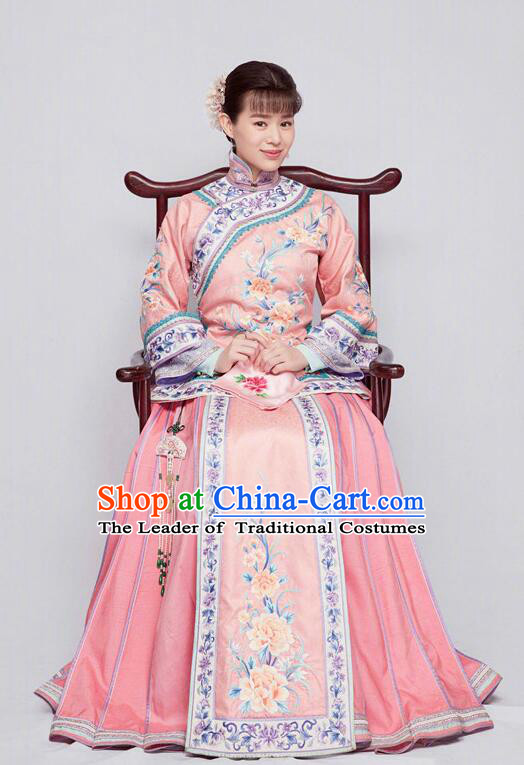 Traditional Ancient Chinese Republic of China Nobility Lady Costume, Asian Chinese Late Qing Dynasty Embroidered Pink Xiuhe Suit Clothing for Women
