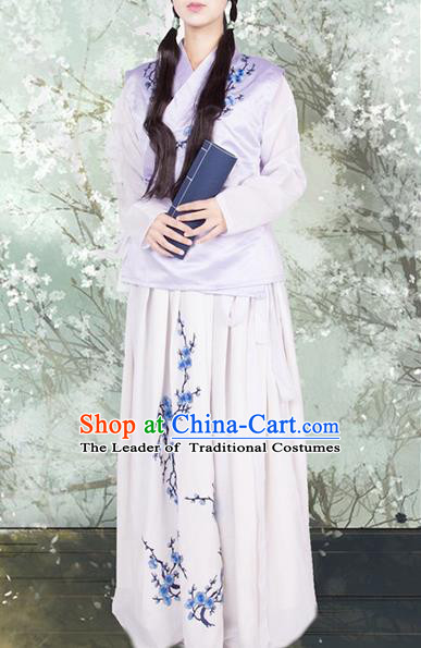 Traditional Ancient Chinese Young Lady Costume, Elegant Hanfu Clothing Chinese Ming Dynasty Princess Embroidered Clothing for Women