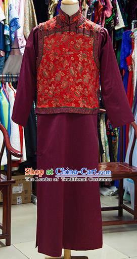 Traditional Ancient Chinese Manchu Prince Costume Red Mandarin Jacket, Chinese Qing Dynasty Royal Highness Clothing for Men